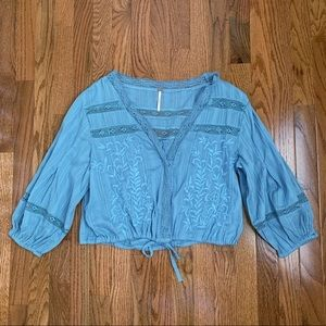 NWT- Free People Follow Your Heart Chambray Top